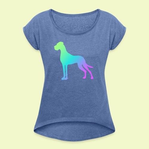 Bunte Dogge - Frauen T-Shirt mit gerollten Ärmeln