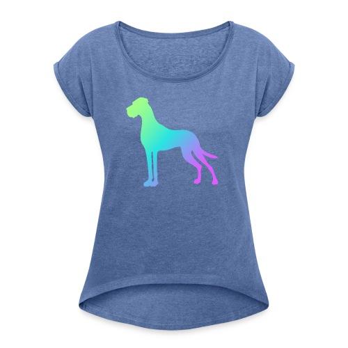 Grüne Dogge - Frauen T-Shirt mit gerollten Ärmeln