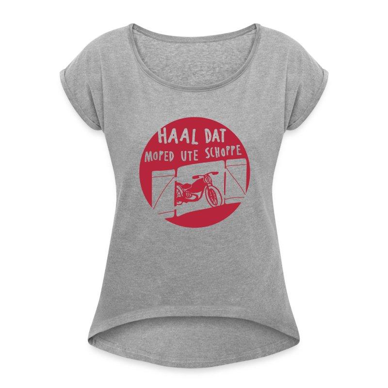 moped - frauen t-shirt mit gerollten ärmeln - Frauen T-Shirt mit gerollten Ärmeln