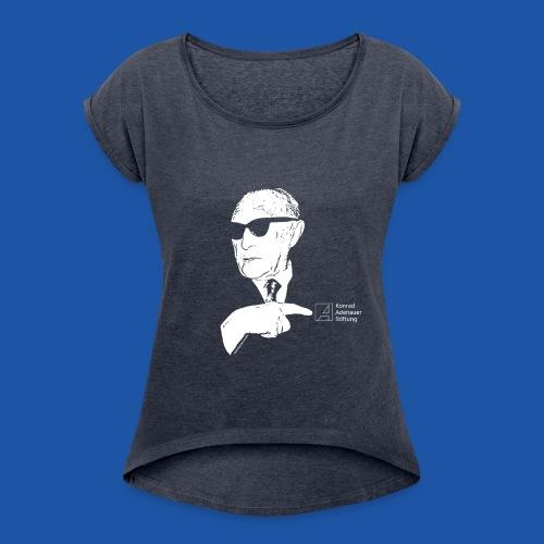 T-Shirt Frauen - Frauen T-Shirt mit gerollten Ärmeln