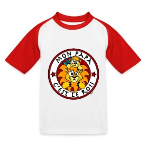T-shirt Baseball Enfant Lion, Papa Roi, Fête des Pères - T-shirt baseball Enfant