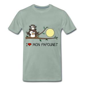 T-shirt P Homme Papa Hibou, I love mon Papounet, Fête des Pères - T-shirt Premium Homme