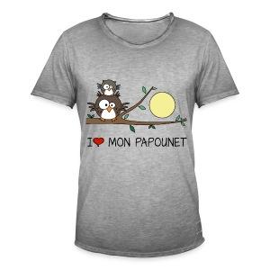 T-shirt Vintage Homme Papa Hibou, Papounet, Fête des Pères - T-shirt vintage Homme