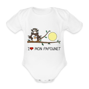 Body Bébé Papa Hibou, Papounet, Fête des Pères - Body bébé bio manches courtes