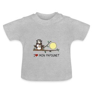 T-shirt Bio Bébé Papa Hibou, Papounet, Fête des Pères - T-shirt Bébé