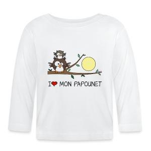 T-shirt ml Bébé Papa Hibou, Papounet, Fête des Pères - T-shirt manches longues Bébé