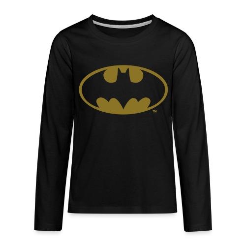DC Comics Batman Logo in gold-metallic Optik - Teenager Premium Langarmshirt