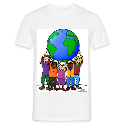 Kinder mit Weltkugel - Männer T-Shirt