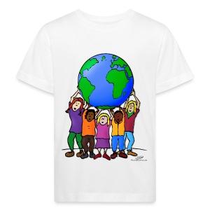 Kinder mit Weltkugel - Kinder Bio-T-Shirt