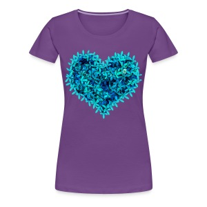 Teal leafs heart - Women's Premium T-Shirt