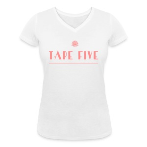 TAPE FIVE branding white, female - Women's Organic V-Neck T-Shirt by Stanley & Stella