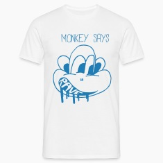 "Monkey Says ""Rave"" in blue sparkle print"