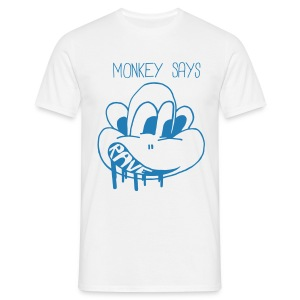 Monkey Says Rave in blue sparkle print - Men's T-Shirt