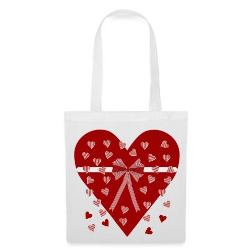 Rood hart, strepen en strik - Tote Bag
