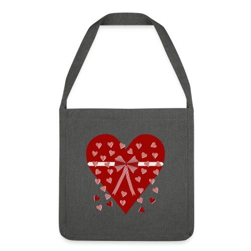 Rood hart, strepen en strik - Shoulder Bag made from recycled material