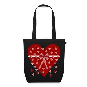 Rood hart, strepen en strik - EarthPositive Tote Bag