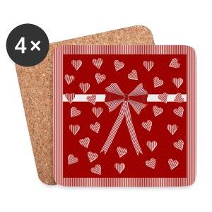Roodgestreepte rand, harten en strik - Coasters (set of 4)