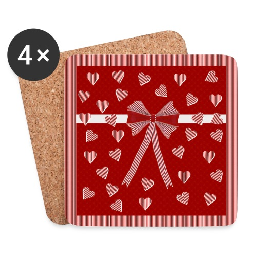 Roodgestreepte rand, harten en strik - Coasters (set of 4)