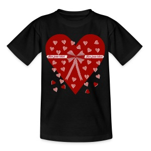 Rood hart, strepen en strik - Teenager T-shirt