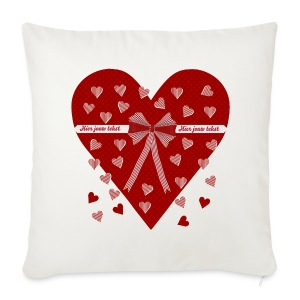 Rood hart, strepen en strik - Sofa pillow cover 44 x 44 cm