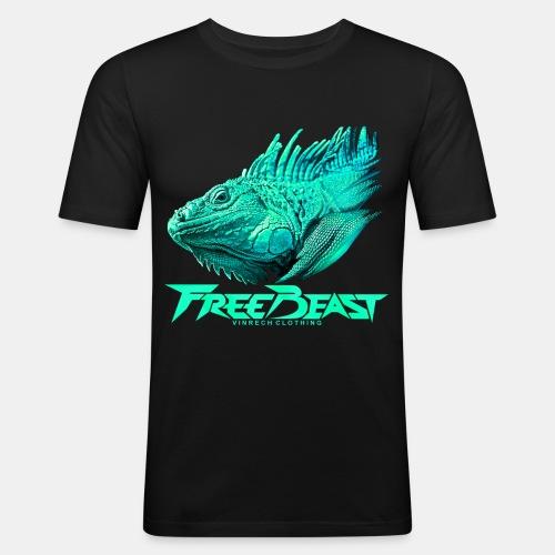 VINRECH CLOTHING - FREE BEAST - IGUANA TURQUOISE - T-shirt homme - T-shirt près du corps Homme