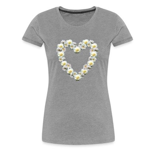 Weisses-Rosen-Herz - Frauen Premium T-Shirt