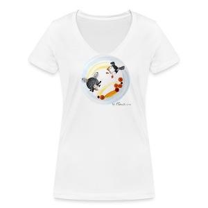 T-shirt bio col V Stanley & Stella Femme - Tee-shirt femme Ptit mouton d'Ouessant by Sillousoune. Motif extrait du livre illustré par Sillousoune Le p'tit mouton d'Ouessant à la recherche de l'océan.