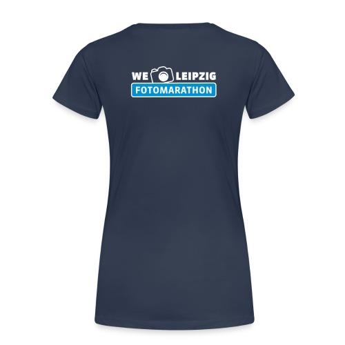 Frauen Premium T-Shirt navy mit Rückendruck - Frauen Premium T-Shirt