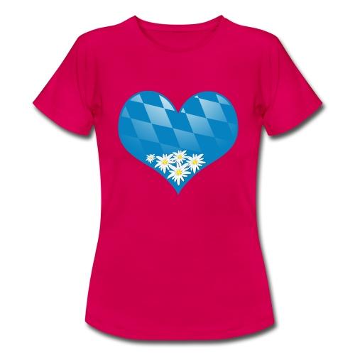 Oktoberfest Herz mit Edelweiß - Frauen T-Shirt