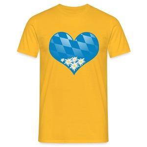 Bayerisches Herz mit Edelweiß - Männer T-Shirt