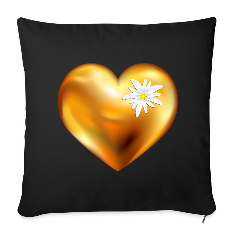Goldenes Herz mit Edelweiß - Sofakissenbezug 44 x 44 cm