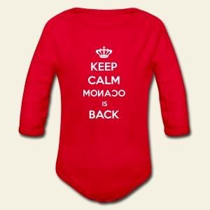 Body shirt Keep calm Monaco is back - Body bébé bio manches longues