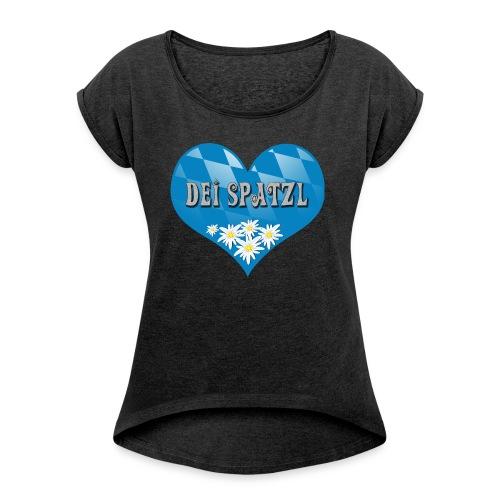 Dei Spatzl - Frauen T-Shirt mit gerollten Ärmeln