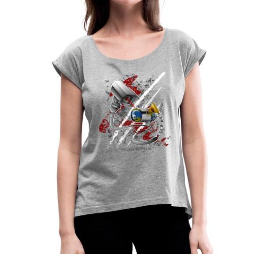Wo ist meine freie welt? - Frauen T-Shirt mit gerollten Ärmeln