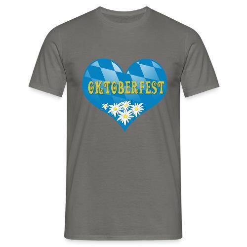 Oktoberfest Herz mit Edelweiß - Männer T-Shirt