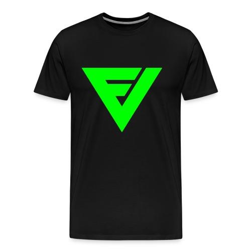Premium t-paita symbolilla (neon vihreä), painatus niskassa myös. - Miesten premium t-paita