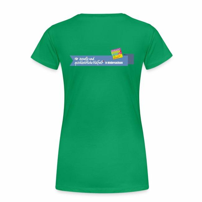 Damen T-Shirt Peergroup8 + Vielfaltslogo