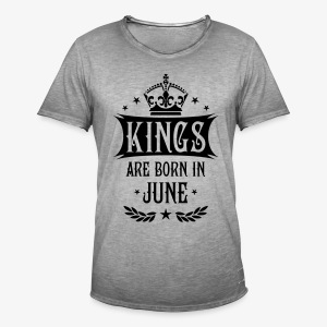 Kings are born in June Krone King Star T-Shirt - Männer Vintage T-Shirt