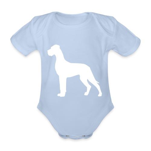 Dogge weiss - Baby Bio-Kurzarm-Body