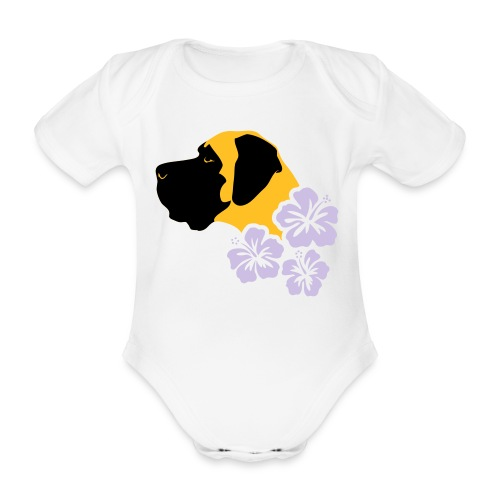 Kopf Hibiskus - Baby Bio-Kurzarm-Body