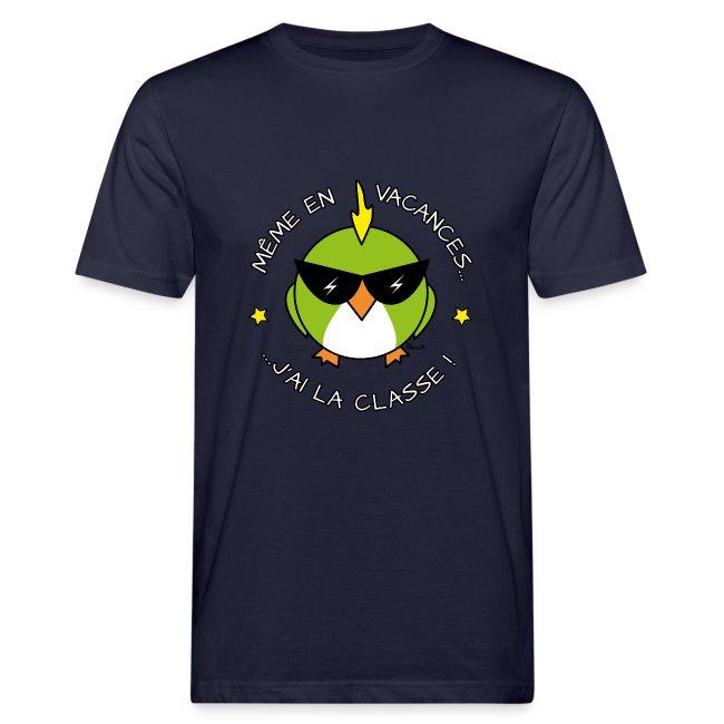 T-shirt Bio Homme Oiseau Cool, Vacances, J'ai la Classe!