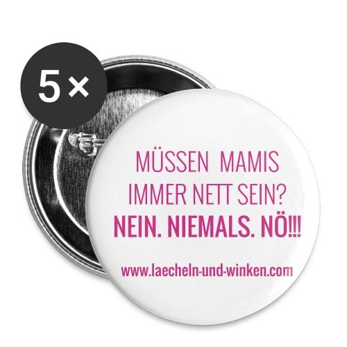 Der normale LÄCHELN UND WINKEN-Button - Buttons mittel 32 mm (5er Pack)