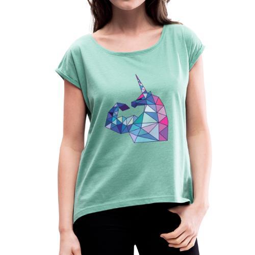Bizepseinhorn Poly-Design - Frauen T-Shirt mit gerollten Ärmeln - Frauen T-Shirt mit gerollten Ärmeln