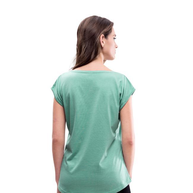Bizepseinhorn Poly-Design - Frauen T-Shirt mit gerollten Ärmeln