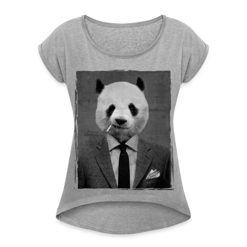 Tee shirt imprimé  'dandy panda' - T-shirt à manches retroussées Femme