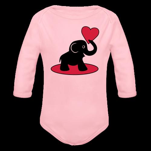 Süßer Elefant mit Herz Baby Bodys - Baby Bio-Langarm-Body