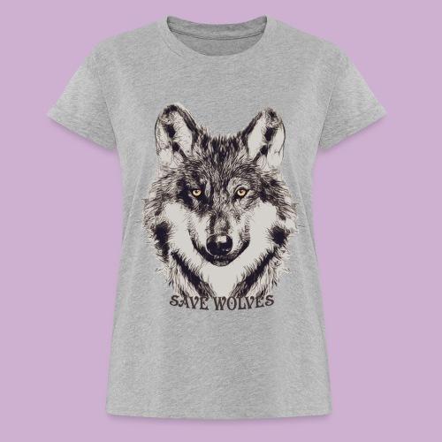 SAVE WOLVES - Frauen Oversize T-Shirt