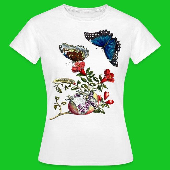 Granaatappel met vlinders dames t-shirt