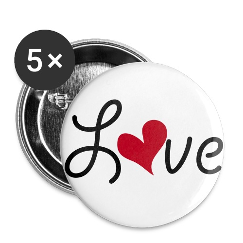 Love button3 - Stor pin 56 mm (5-er pakke)