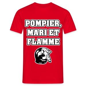POMPIER, MARI ET FLAMME - JEUX DE MOTS - FRANCOIS VILLE - T-shirt Homme